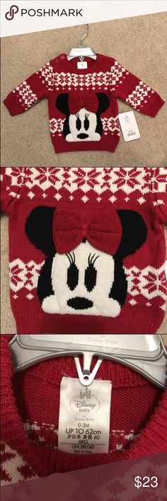 NWT Disney Store Minnie Mouse Sweater Brand new with tag Disney Baby by Disney Store Exclusive Christmas Holiday Minnie Mouse Sweater Size 0-3 Months Disney Shirts & Tops Sweaters