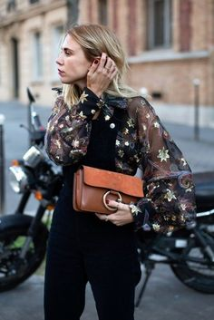 Street Style : Embroidered bell sleeve sheer top and dungarees | winter style | winter fashion