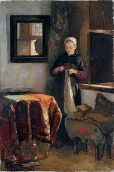 Het zonnige hoekje': jonge vrouw in een kamer te Hindelopen Vervaardiger: Bisschop, Christoffel Verv.jaar:1904 #Friesland #Hindeloopen
