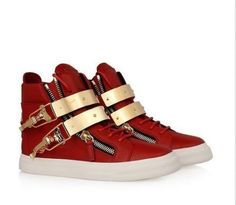 100% genuine leather red metal double buckle shoes gz spo...