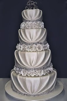 Interesting textures!  Romantic wedding cake