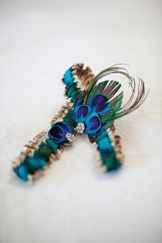 cultural real weddings peacock blue gold bridal garter