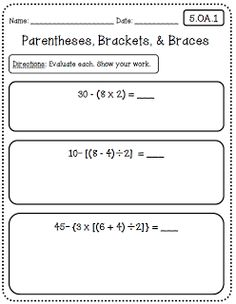 Common Core Math Worksheets (5th Grade Edition) at Create○Teach○Share