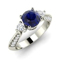 Natural Blue Sapphire Ring | 14k White Gold Ring in Blue Sapphire With Diamonds