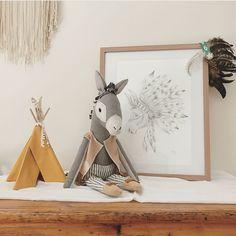 This little custom donkey heirloom doll is pretty special. It was inspired by the feather donkey artwork by the talented @artbydimity for her sweet boy. xx || Swipe to see all the cuteness!!