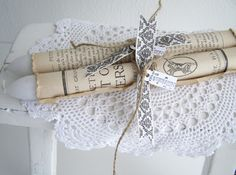 Candle gift wrap with old book pages, ribbon, string and label. From Bizzy @ Home.