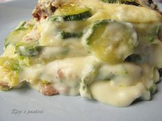 Creamy bechamel lasagne with zucchini and sausage