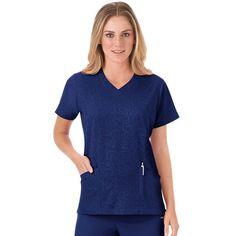 Women's Jockey Scrubs Modern Solid Illusions V-Neck Top, Blue (Navy)