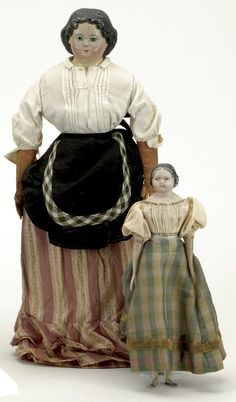 Lot: 2 Early Papier Mache Dolls with Period Clothes
