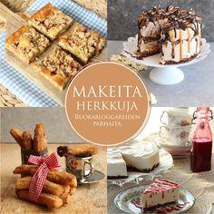 Ruokabloggaajien äitinä tituleerattu Kati Jaakonen on julkaissut jo noin kolmekymmentä Hellapoliisi- ruokakirjaa. Tässä kirjassa hänen kanssaan tekee makeita herkkuja nyt myös muita intohimoisesti kokkaavia bloggareita.  Kirjassa esitellään ruokabloggareiden suosituimmat makeat leivonnais- ja jälkiruokareseptit.  2015 Dairy, Bread, Cheese, Food, Eten, Bakeries, Meals, Breads, Diet