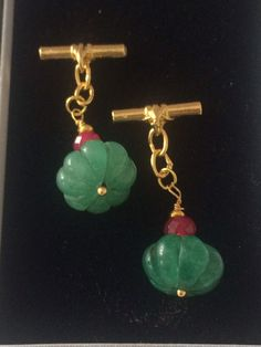 VINTAGE CARVED INDIAN EMERALD AND RUBY -GILT CHAIN LINK  CUFF LINKS  | eBay