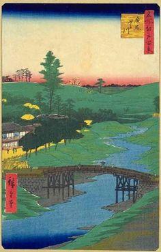<名所江戸百景 広尾ふる川 :  HIROO FURUKAWA>  FURU RIVER AT HIROO  HIROSHIGE UTAGAWA  1797-1858  Last of Edo Period