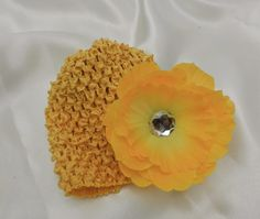 Childrens Infant Sunflower Yellow Waffle Hat removable by LambyDoo, $3.25