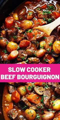 Slow Cooker Beef Bourguignon has crazy tender melt in your mouth beef and hearty veggies slow cooked to perfection in a rich sauce. This meal is comforting and perfect for the cold months ahead! Healthy Slow Cooker, Crock Pot Slow Cooker, Crock Pot Cooking, Slow Cooker Recipes, Crockpot Recipes, Cooking Recipes, Healthy Recipes, Beef In Slow Cooker, Slow Cooker Dinners