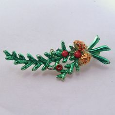 Vintage 1950's green enamel on metal pine cone and by jewelry715, $4.00