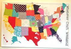 fabric map!! Would want to make this to include the whole world, though, not just the USA!