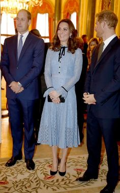 """royalcatherine: """"The Duke and Duchess of Cambridge and Prince Harry celebrate World Mental Health Day at Buckingham Palace on October 10, 2017 """""""