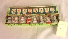 8 Vtg Mid Century Commodore Ceramic Christmas PLACE CARD HOLDERS in ORIGINAL BOX