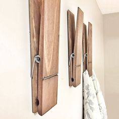 These cool new Huge Rustic Clothespins hang on your wall, not your clothesline (unless you're drying clothes for a fairy tale giant), and are perfect for decoratively holding up towels, photos, drawings, notes, magazines, or whatever you'd like.
