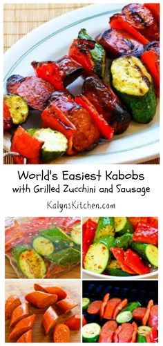 Everything tastes better from the grill, and the World's Easiest Kabobs with Grilled Zucchini and Sausage are delicious and about as easy as it gets!  #LowCarb #GlutenFree [from KalynsKitchen.com]