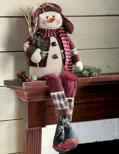 Collections Etc – Singing Primitive Country Holiday Snowman Decoration: Christmas Gifts Snowman Christmas Decorations, Snowman Crafts, Christmas Colors, Christmas Snowman, Winter Christmas, Holiday Crafts, Christmas Ornaments, Christmas Home, Tree Decorations