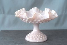 Fenton Footed Compote  Rose Pastel Hobnail by Littlebluehouse1, $75.00