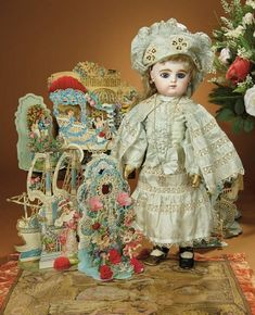 Bread and Roses - Auction - July 26, 2016: 259 Pretty French Bisque Bebe by Gaultier Freres with Elaborate Antique Costume