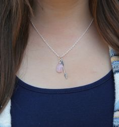 This little arrow and rose quartz necklace is a sweet little reminder to you to choose love in the midst of whatever comes your way. Rose quartz invites in love and compassion and is considered the stone of the heart. May this necklace be a companion on your own path to self-love and help you create space to choose love in moments with others.