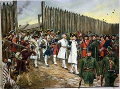 • Surrender of Detroit 1760 to Robert Rogers. Done for the Army War College Class. This is snapshot while in the studio so it's a tad cockeyed.