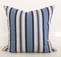 Coastal blue stripe & natural european by VilladeLuxeBoutique
