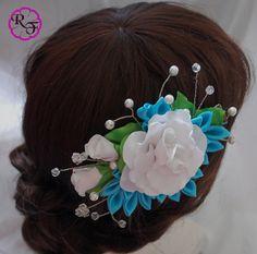 Accesorio del pelo de novia flores blancas flores por RainOfFlowers