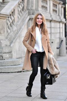 camel coat , black leather pants, white shirt  , black ankle boots = modern classic