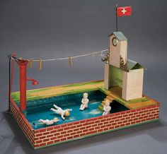 German Tin Swimming Pool with Clock Tower and Pump