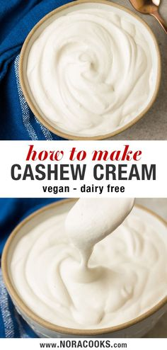 Learn how to make 2 ingredient Cashew Cream, the dairy free and vegan alternative to heavy cream! This plant based cashew cream recipe has so many sweet and savory uses - perfect for soups, creamy sav Cashew Recipes, Best Vegan Recipes, Raw Food Recipes, Cooking Recipes, Vegan Ideas, Veggie Recipes, Easy Recipes, Vegan Foods, Vegan Dishes