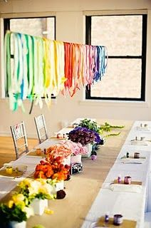 Rainbow party ideas.  A little more adult, a little less Rainbow Brite.