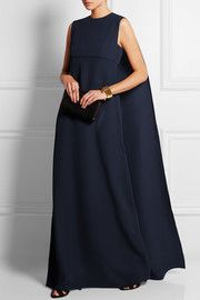 Cape-back silk-cady gown
