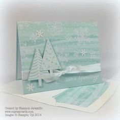 card christmas tree trees ice blue turqouise stampin up holiday catalogue