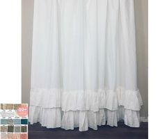 Soft woven linen shower curtains features two tiered mermaid long ruffles. Natural linen is bacteria resistant by nature make it the top choice for shower curtain material. Extra Long, Shower Curtain Rods, Shower Curtains, Curtain Material, Hanging Curtains, Diy Curtains, Curtains With Rings, Khalid, Fabric Swatches