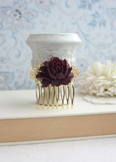 Dark Maroon Red Flower Gold Comb. Vintage Style Rose Gold Hair Comb. Rustic Rose Gold Hair Wedding Comb. Bridesmaids Gift. Gold Wedding. on Etsy, $16.00