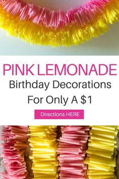 Are you needing some DIY birthday decorations for girls easy? Well I have the project for you! Make these easy and cheap crepe paper garland decorations. Add a beautiful pop of color to any party for only $1! For this project you will need crepe paper, needle and thread. To see the full tutorial head on over to VanahLynn.com and save this pin for later Streamer Decorations, Cheap Party Decorations, Party Streamers, Diy Birthday Decorations, Unique Birthday Party Ideas, Pink And Gold Birthday Party, Party Favors For Kids Birthday, Diy Party Poppers, Crepe Paper Garland
