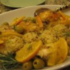 Chicken with oranges and olives with cauliflower rice