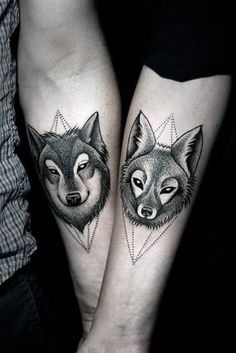 A pair of wolves. #inked #inkedmag #tattoo #wolves #wolf #art #idea #pair #matching