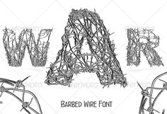 Barbed Wire Font  #GraphicRiver         Each letter has a size 5000×5000 px. This is a perfect solution for print works, for websites, etc.   In the file are this characters: A, B, C, D, E, F, G, H, I, J, K, L, M, N, O, P, Q, R, S, T, V, W, X, Y, Z, 0, 1, 2, 3, 4, 5, 6, 7, 8, 9, @, $, %, euro   All characters are with transparent background, in .png format.         Created: 11February12 GraphicsFilesIncluded: TransparentPNG Layered: No PixelDimensions: 5000x5000 Tags: army #barb #barbed…