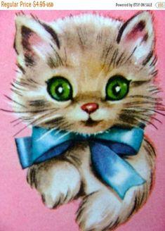 Vintage Valentine Cards, Cat Valentine, Vintage Cards, Kitten Tattoo, Cute Animal Illustration, Animal Illustrations, Animal Drawings, Kitsch Art, Here Kitty Kitty