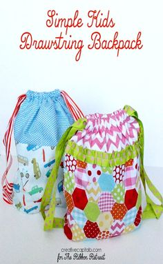 Simple Kids Drawstring Backpack - The Ribbon Retreat Blog - use this method for attaching straps and creating box corners on the bottom