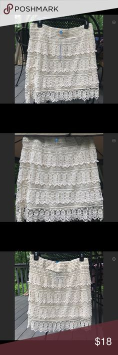 Blue Island Ivory Crocheted Lace Skirt Gorgeous NWT cream lace skirt. Hits above the knee. Elastic waist, fully lined, scalloped at hemline. Dress up for work or wear with denim for a contemporary look. In perfect condition! Blue Island Skirts