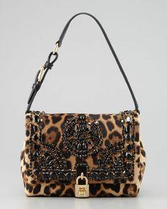 Dolce & Gabbana Miss Dolce Leopard-Print Calf Hair Shoulder Bag - Neiman Marcus