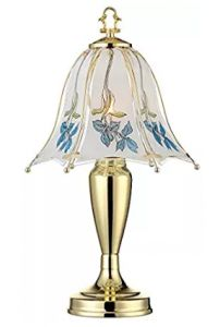 Blue Flower Shade 18 High Touch On-Off Accent Table Lamp Touch Table Lamps, Table Lamps For Bedroom, Touch Lamp, Light Table, Lamp Light, Light Fixtures Bedroom Ceiling, Outdoor Light Fixtures, Pendant Light Fixtures, Country Lamps