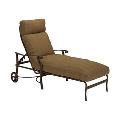 Tropitone Montreux Reclining Chaise Lounge with Cushion Finish: Obsidian, Fabric: Canvas Heather Beige