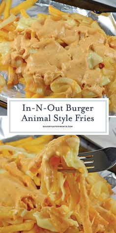 In-n-Out Burger Animal Style Fries - A Delicious Animal Style Fries Recipe - Now you can enjoy Copycat In-N-Out Burger Animal Style Fries at home! Using a simple fry sauce, crispy fries, American cheese and fried onions. In And Out Burger, Burger And Fries, Burgers, Side Dishes Easy, Side Dish Recipes, Snack Recipes, Dishes Recipes, Drink Recipes, Easy Recipes